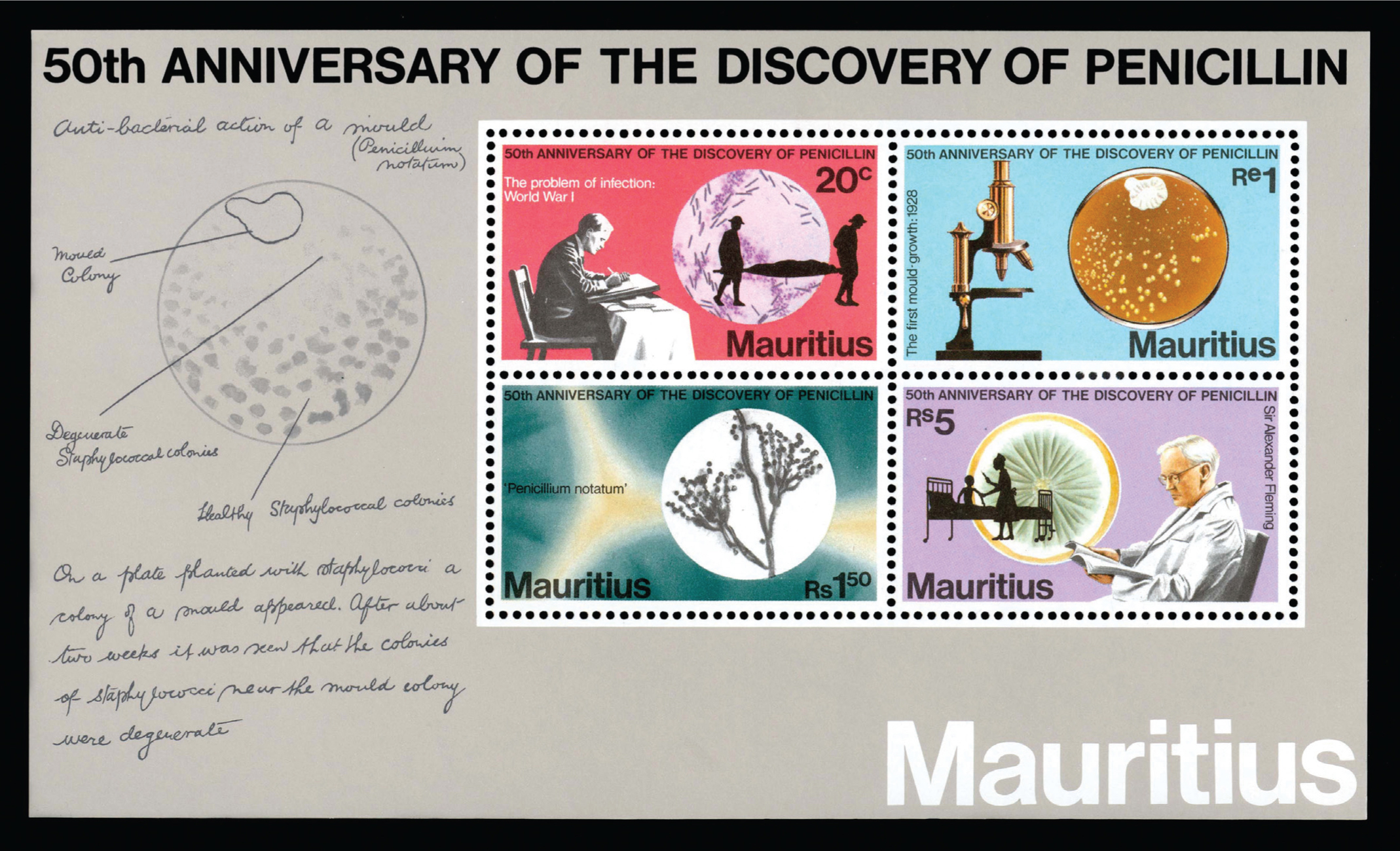 A 1978 souvenir sheet from Mauritius that celebrates the 50th anniversary of Sir Alexander Fleming's discovery of penicillin.Image courtesy of Stanford T Shulman, MD.